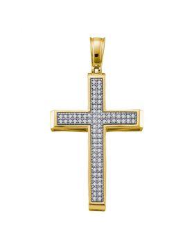 10kt Yellow Gold Womens Round Diamond Cross Religious Pendant 1/4 Cttw