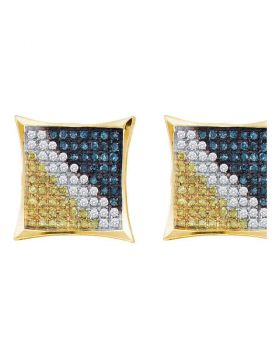 Yellow-tone Sterling Silver Unisex Blue Color Enhanced Diamond Square Cluster Earrings 1/6 Cttw