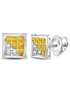 Sterling Silver Unisex Round Yellow Color Enhanced Diamond Cluster Earrings 1/20 Cttw