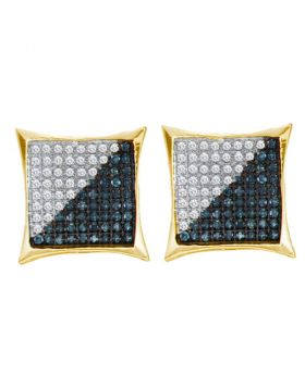 Yellow-tone Sterling Silver Unisex Round Blue Color Enhanced Diamond Square Cluster Earrings 1/4 Cttw