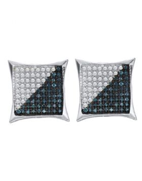 Sterling Silver Unisex Round Blue Color Enhanced Diamond Square Cluster Earrings 1/4 Cttw