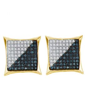 Yellow-tone Sterling Silver Unisex Round Black Color Enhanced Diamond Square Kite Cluster Earrings 1/3 Cttw