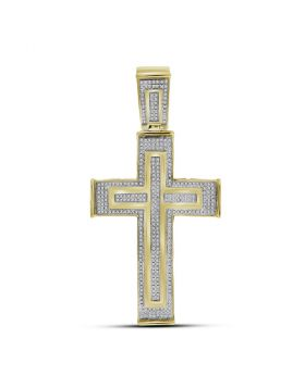 10kt Yellow Gold Unisex Round Diamond Cross Crucifix Charm Pendant 7/8 Cttw