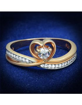 TS544-5 - 925 Sterling Silver Rose Gold + Rhodium Ring AAA Grade CZ Clear