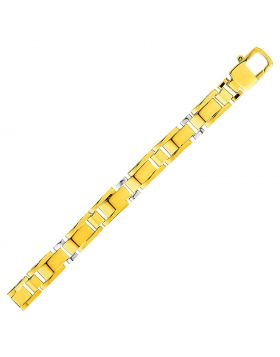 Rectangular Link Bracelet in 14k Two Tone Gold