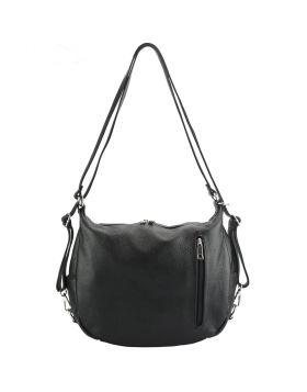 Prisca leather Shoulder bag - Navy Blue