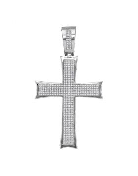10kt White Gold Unisex Round Diamond Flared Pattee Cross Charm Pendant 1-1/2 Cttw