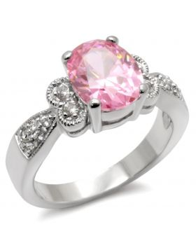 9X045-5 - 925 Sterling Silver High-Polished Ring AAA Grade CZ Rose