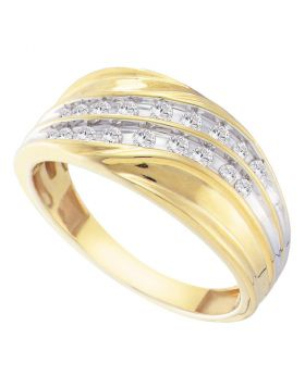 10kt Yellow Gold Unisex Round Channel-set Diamond Diagonal Double Row Wedding Band 1/3 Cttw