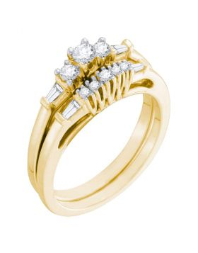 10kt Yellow Gold Womens Round Diamond 3-Stone Bridal Wedding Engagement Ring Band Set 1/3 Cttw