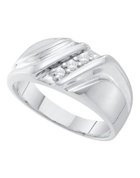 10kt White Gold Unisex Round Diamond Diagonal Single Row Wedding Band Ring 1/10 Cttw