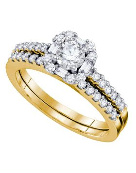 14kt Yellow Gold Womens Round Diamond Slender Halo Bridal Wedding Engagement Ring Band Set 3/4 Cttw