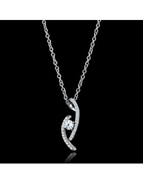 TS515-16+2 - 925 Sterling Silver Rhodium Necklace AAA Grade CZ Clear