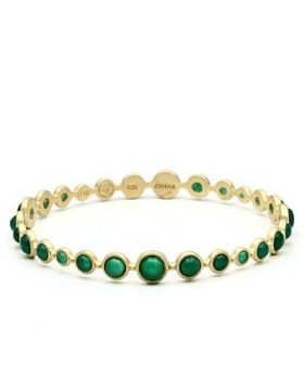 LOS550-8 - 925 Sterling Silver Matte Gold Bangle Semi-Precious Emerald