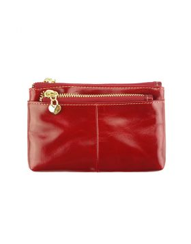 SARAH Leather Coin Card Holder -  light red