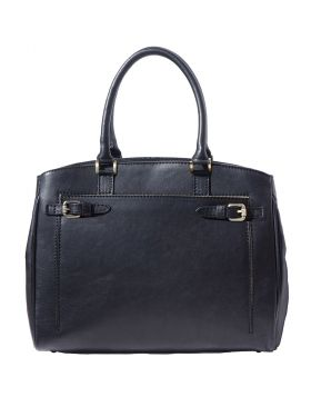 Shoulder tote bag in smooth leather -  black