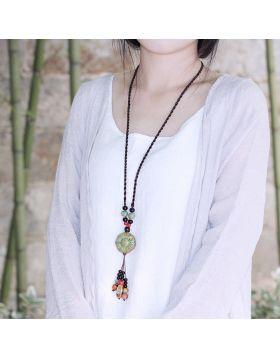 Ethnic Ceramics Beaded Tassel Necklaces