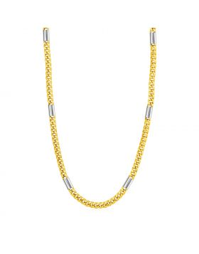 14k Two Tone Gold Mens Twisted Oval and Bar Link Necklace-24''