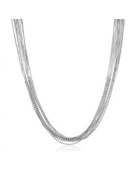 Sterling Silver Multi Strand Snake and Bead Chain Bracelet-18''