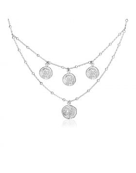Sterling Silver 18 inch Two Strand Necklace with Roman Coins-18''