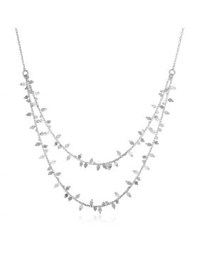 Sterling Silver 18 inch Leaf Motif Double Chain Necklace-18''