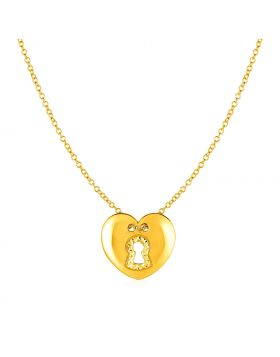 14k Yellow Gold Necklace with Heart Lock Pendant-18''