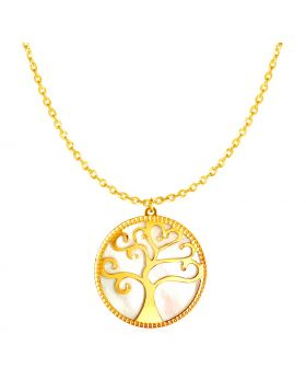 14k Yellow Gold and Mother of Pearl Tree of Life Necklace-18''