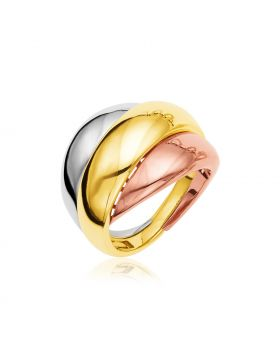 14k Tri Tone Gold Polished Dome Ring-7