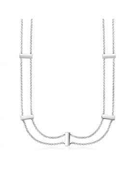 Sterling Silver 16 inch Two Strand Necklace with Polished Bars-16''