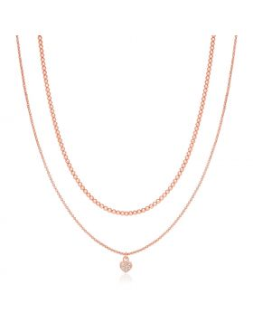 Sterling Silver 16 inch Rose Finish Two Strand Necklace with Heart Pendant-16''