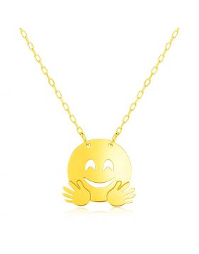 14k Yellow Gold Necklace with Hugs Emoji Symbol-16''