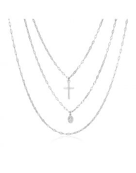 Sterling Silver 18 inch Three Strand Necklace with Cross and Religious Medal-18''