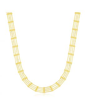 14k Yellow Gold Choker Necklace with Polished Beads-16''