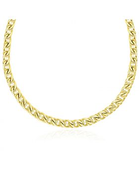 14k Yellow Gold Textured Round and Oval Interlaced Link Bracelet-18''