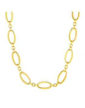 14k Yellow Gold Necklace with Polished Oval Links-18''