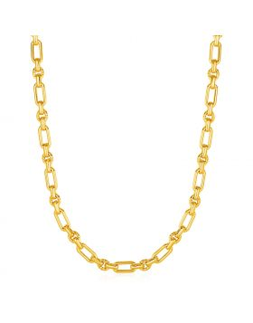 Rounded Rectangular Link Necklace with Textured Round Links in 14k Yellow Gold-18''