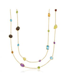 14k Yellow Gold Double Layer Multi Gem Necklace-30''