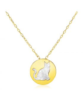 14k Yellow Gold Necklace with Cat Symbol in Mother of Pearl-16''