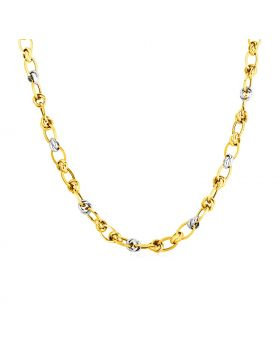 14k Two Tone Gold Oval Link Necklace-18''