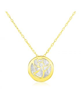 14k Yellow Gold Necklace with Angel Symbol in Mother of Pearl-16''