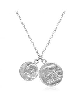 Sterling Silver 20 inch Necklace with Two Roman Coins-20''