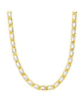 Mens Oval Link Necklace with Details in 14k Two Tone Gold-22''