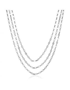 Sterling Silver 16 inch Three Strand Necklace with Polished Ovals-16''