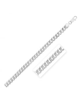 Sterling Silver Rhodium Plated Curb Chain 7.3mm-22''