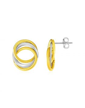 14k Two Tone Gold Post Earrings with Three Interlocking Circles