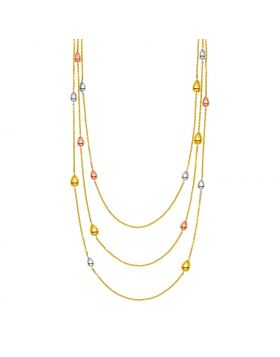14k Tri Color Gold Multi Strand Necklace with Teardrops