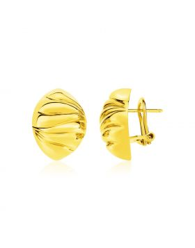 14k Yellow Gold Textured Puff Marquise Motif Earrings