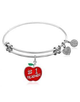 Expandable White Tone Brass Bangle with Red Enamel Teacher Apple Symbol