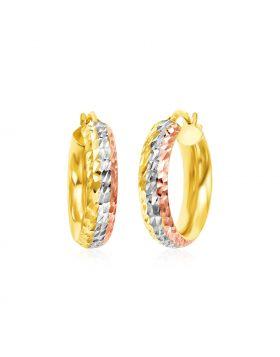 14k Tri Color Gold Textured Hoop Earrings