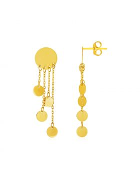14k Yellow Gold Post Earrings with Polished Round Dangles